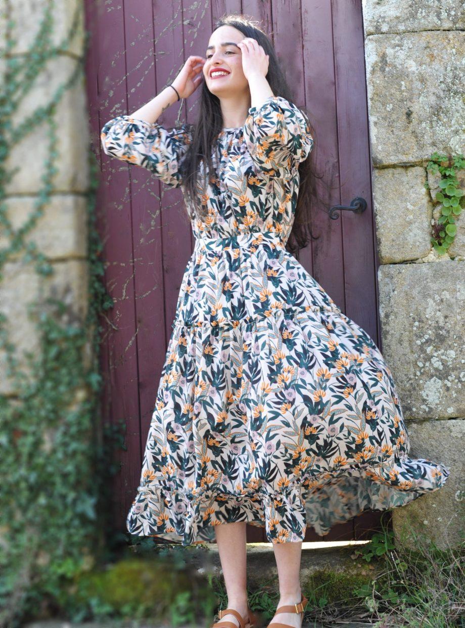 Robe longue Agathe rose desbois