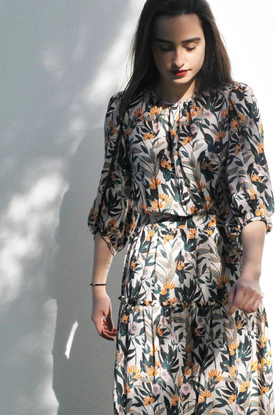 Agathe robe longue rose desbois