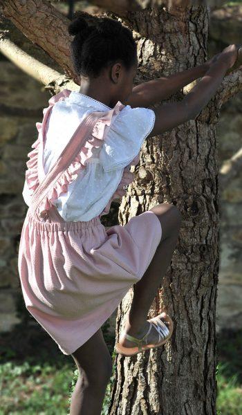 Robe bretelles enfant rose desbois
